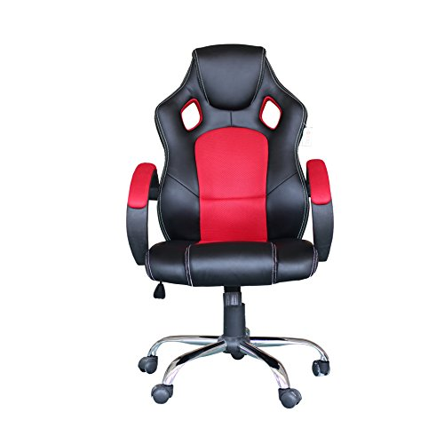 411C84OrGKL - Computer-Video-Game-Chair-High-Back-Racing-Style-Chair-With-Lock-Caster-Lumbar-Support-Mesh-Back-and-Headrest-Red