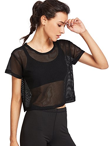 SweatyRocks Women's Sexy Sheer Mesh Fishnet Net Short Sleeve T-Shirt Crop Top Black XL (Sleeve Short Mesh Black Top)