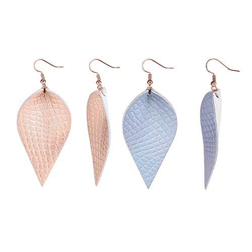 (YOUTH UNION 2 Pairs Vintage Boho Shard Lattice Leather Teardrop Leaf Dangle Pierced Earrings (Rose gold + Blue) )