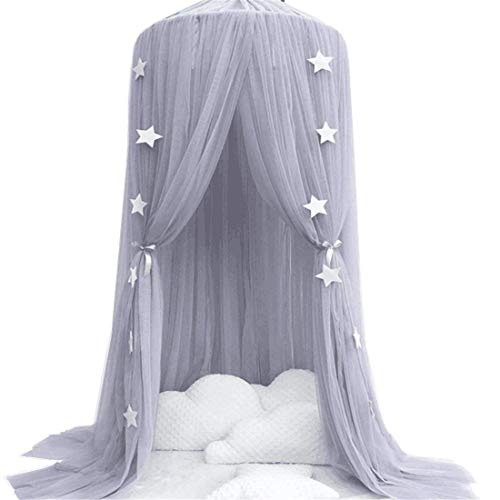 Dix-Rainbow Kid's Bed Canopies Crib Netting Princess Girls Bed Canopy Toddler Baby Crib Mosquito Net Curtains Mesh Lace Round Dome Crown Kids Play Tent Boys Reading Castle Game House from Dix-Rainbow