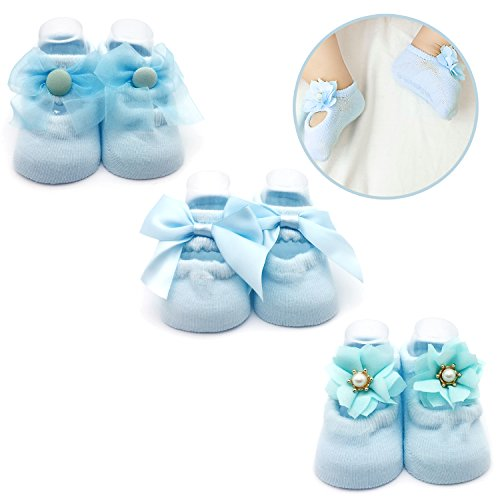 (Elesa Miracle Non-skid Baby Girl Toddler Mary Jane Socks, Newborn Baby Photography Props Anti Slip Flower Pearl Bownote Socks Value Set in Gift Box (S for 0-6 Months, Sky Blue) )