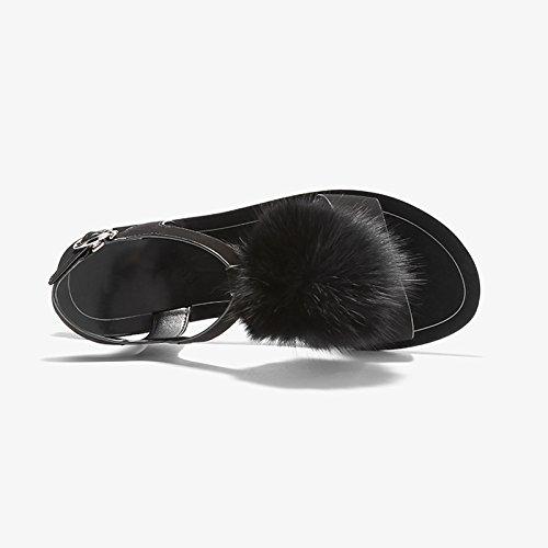 color De Jianxin 7 Eu Palabra 38 Con 5 Negro Plana Hadas Femenino Sandalias jp Roma Verano Peluda us 5cm Zapatos Hebilla 24 uk Tamaño Pink q55U7rp
