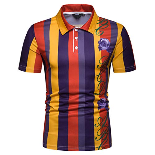 KINGOLDON Mens Letter Splicing Printing Shirt Short Sleeve T-Shirt Blouse Fashion Outdoor Beach Shirt Orange