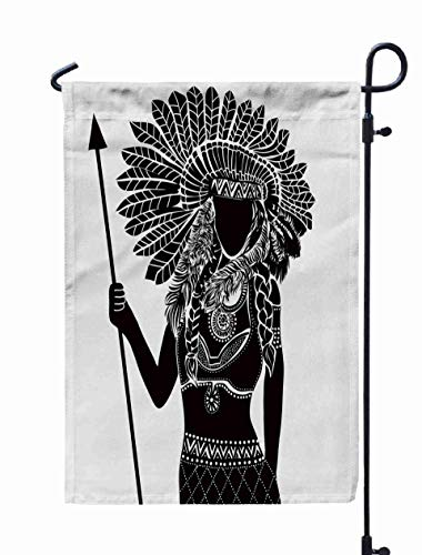 Shorping Welcome Garden Flag, 12x18Inch Young Woman in Costume American Silhouette Beautiful Women for Holiday and Seasonal Double-Sided Printing Yards Flags -