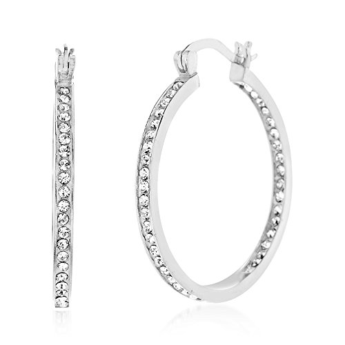 853bb7923 Devin Rose 30mm Inside Outside Hoop Earrings for Women Made With Swarovski  Crystals in 925 Sterling