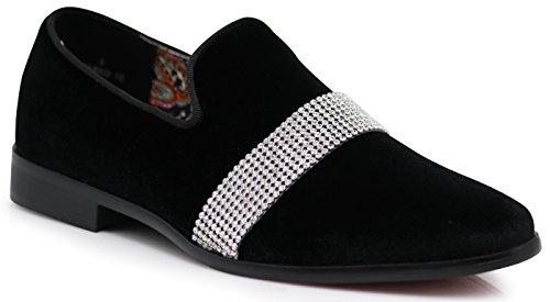 Enzo Romeo SPK10 Men's Vintage Plain Velvet White Stripe Design Dress Loafers Slip On Shoes Classic Tuxedo Dress Shoes (12 D(M) US, Black) by Enzo Romeo