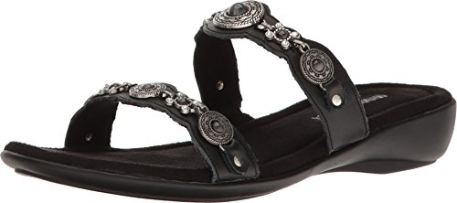 Minnetonka Women's Boca Slide III Black Leather 9 M ()
