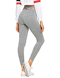 SweatyRocks Women's Criss Cross High Waist Yoga Pants Workout Running Yoga Skinny Leggings
