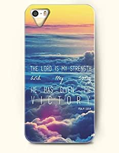iPhone 5 5S Case OOFIT Phone Hard Case ** NEW ** Case with Design The Lord Is My Strength And My Song. He Has Given Me Victory Psalm 118:14- Bible Verses - Case for Apple iPhone 5/5s