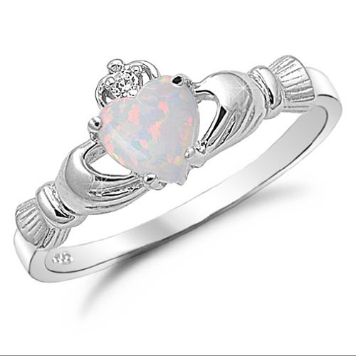Kriskate & Co. Irish Claddagh Ring .925 Sterling Silver with Simulated Lab Opal Heart Promise Ring Size 7
