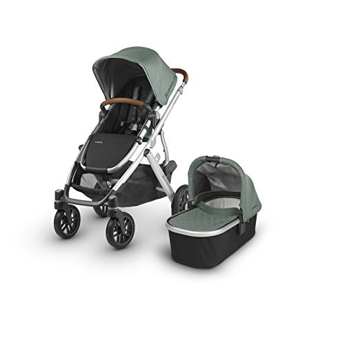 UPPAbaby VISTA Stroller, Green Melange/Silver/Leather, Emmett