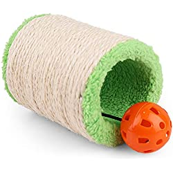 PrimePets Cat Scratcher Cardboard, Sisal Cat Scratching Post, Hollow Plush Roller with Interactive Cat Toy Ball & Bell, Claws Sharpener for Kitten