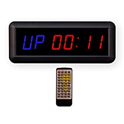 Eu 1.5 6 Digits Interval Timer Programmable Led Countdown/Up Stopwatch For Home Garage Gym. (Blue/Red)