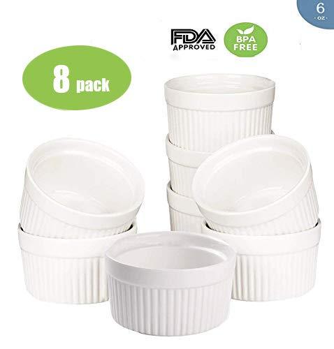 Accguan Set of 8 PCS 6 oz Round Porcelain Oven Safe Ramekin Dessert Souffle Baking Dish(3.5 INCHES) (White)