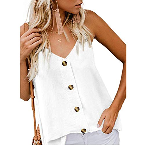 Sunyastor Women's Button Down V Neck Strappy Tank Tops Loose Casual Summer Sleeveless Cami T Shirts Blouses White