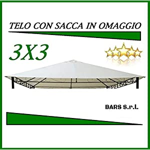 BARS 10058 - Telo Copertura Gazebo 3X3 220 GR Ricambio con Sacca Camino Antivento Antipioggia PVC 10 spesavip