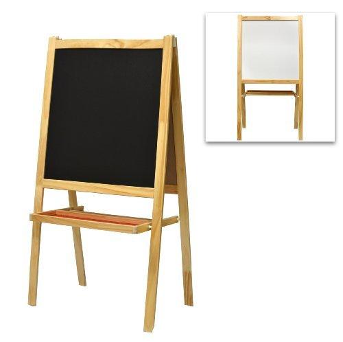 Children's Free Standing Wood Chalkboard Easel, Whiteboard & Drawing Paper Dispenser ()