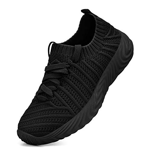 QANSI Kids Sneakers Slip On Lightweight Breathable Comfortable Athletic Running Walking Shoes for Boys Girls Black Size 5