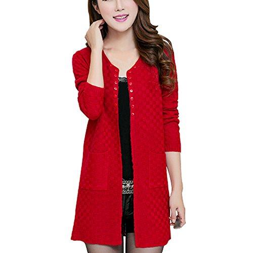 女性のセーター 長いカーディガン ファッション的長袖の薄手ニットカーディガン セーター 黒 M