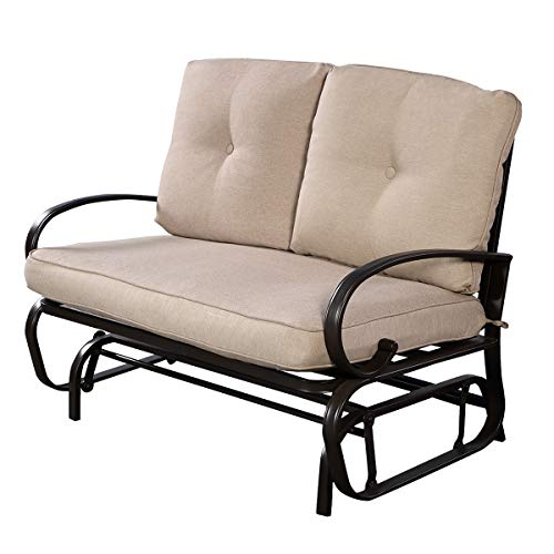 - Giantex Outdoor Patio Rocking Bench Glider Loveseat Cushioned 2 Seats Steel Frame Furniture
