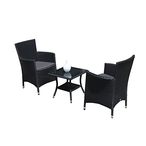 Super Patio 3PC Patio Outdoor Rattan Furniture Set Cushioned Garden Table and Chairs with Gray C ...