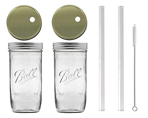 Glass Mason Drinking Jars with 2 Gold Lids, 2 Glass Straws (10''x 9.5mm) and 1 Straw Cleaner (24oz wide mouth, gold) (2) by Variety
