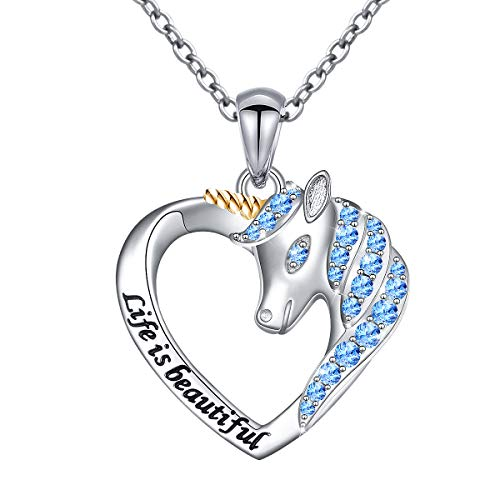 Sterling Silver Life is Beautiful Unicorn Love Heart Necklace for Women Daughter Girls, 18""