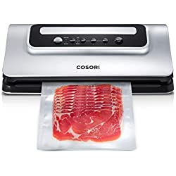 COSORI Vacuum Sealer Food Saver Machine, Automatic Vacuum Sealing System with Air Suction Hose and Built-in Bag Cutter for Food Preservation, Dry & Moist Food Modes, Led Indicator Lights (CP428-VS)