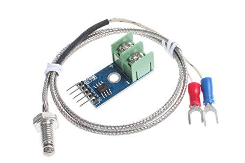NOYITO MAX6675 Module K-Type Thermocouple Temperature Sensor Thermocouple Sensor Set M6 Screw Test Temperature Range 0-1024 3.3-5V for Arduino
