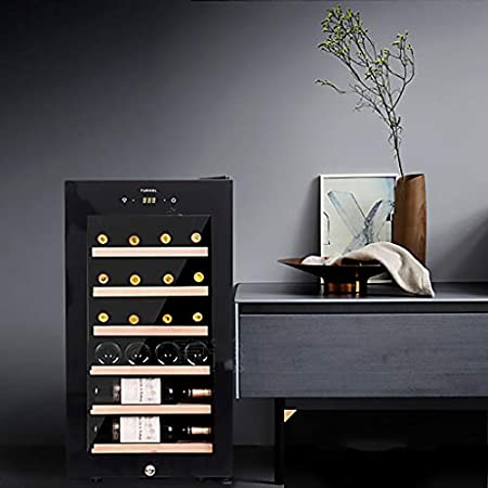 JCOCO 28 BotellasEnfriador de vino termoeléctrico - Enfriador de vino tinto y blanco - Bodega de mostrador - Refrigerador independiente con pantalla LCD Controles táctiles digitales