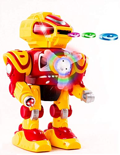 Android Battery Operated Disc Shooting Toy Robot Walking, Flashing Lights, Talking, Spinning, Disc Shooting Toy Robot by Vokodo - Yellow Robot
