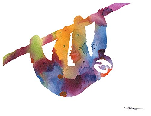 Sloth Abstract Watercolor Art Print By Artist Dj Rogers -