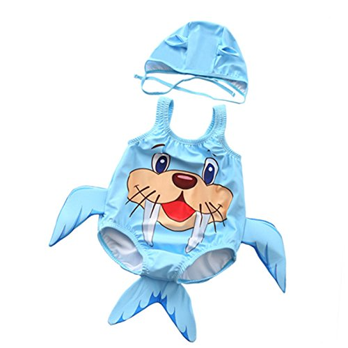 FeliciaJuan Beach Sport Banded One Piece Swimsuit Baby Kids Cute Walrus Pattern One-Piece Swimwear with Hat Carton Swimsuit Swimming Costume Jumpsuit 1-3 Years (Color : Blue, Size : L) ()