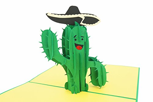 - PopLife Funny Cactus 3D Pop Up Father's Day Card - Joke Birthday Pop Up - Folds Flat for Mailing - Grandkids Gift, Office Card, Congratulations, Just Because, Get Well, Cactus Gifts, Sombrero, Green
