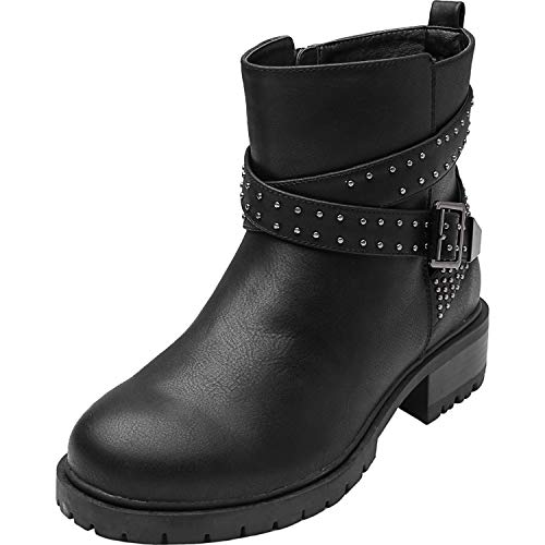 Luoika Women's Wide Width Mid Calf Boots - Motorcycle Buckle Mid Low Heel Side Zipper Rivet Stud Booties.(180801,Black,8WW) ()
