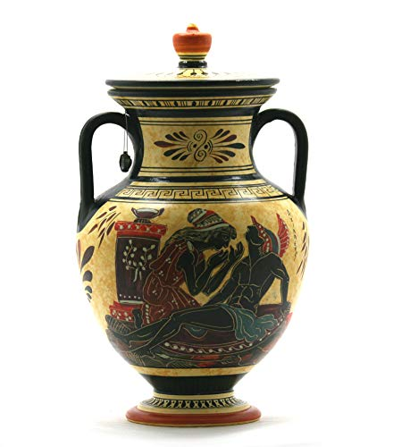 Amphora Vase Achilles and God Bacchus Dionysus Ancient Greek Pottery Ceramic