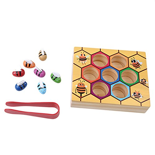 UNKE Colorful Wooden Beehive Box Bee Picking Catching Practices Early Educational Toy for Baby Toddler