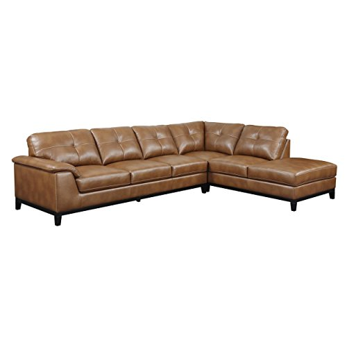 Set Sofa Chestnut (Emerald Home Marquis Chestnut Sectional with Faux Leather Upholstery, Padded Arms, And Contrast Stitching)