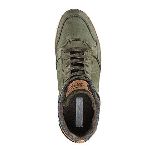 Cox Freizeit Sneaker Aus Leder in Grün, sportlicher Freizeitschuh mit Hohem Schaft Grün-Dunkel