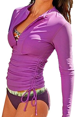 JOKHOO Women's UV Sun Protection Long Sleeve Rash Guard Wetsuit Swimsuit Top