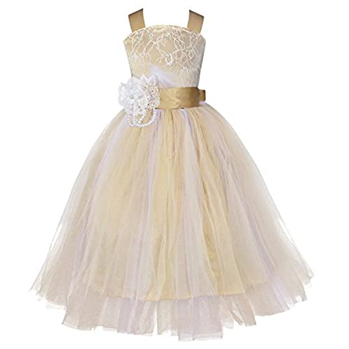 iiniim Girls Kids Crossed Back Bridesmaid Wedding Pageant Party Flower Girl Dress Champagne 8