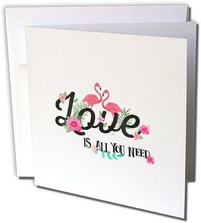 Uta Naumann Typography水彩 – Typography Loveテキスト鳥フラミンゴ花花柄トロピカル文字 – グリーティングカード Set of 12 Greeting Cards