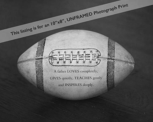 Unique Sport Art Football Photo Print with Father Quote, Original Dad Gift from Kids, Office Decor ()