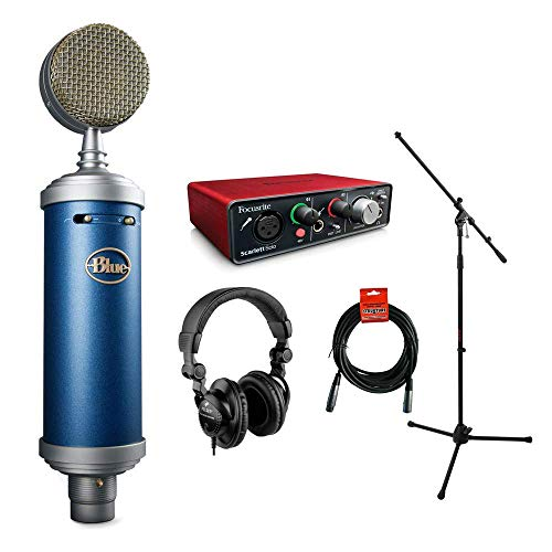 Blue Bluebird SL Large-Diaphragm Condenser Studio Microphone with Focusrite Scarlett Solo Audio Interface, HPC-A30 Monitor Headphone, Mic Stand & XLR-XLR Cable Bundle