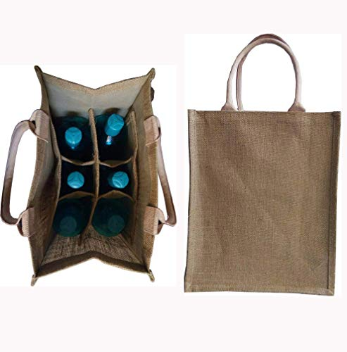 (KVR natural Jute burlap wine beer water bottle cum can carrier bag with option to use as Grocery & lunch bag, Eco Environment Friendly versatile flexible (6 bottle bag,)