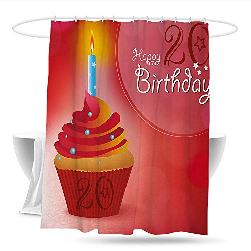 datizhu Bathroom Curtains 20th Birthday Sweet 20 Themed Birthday Party Cupcake with Beams Backdrop Print Shower Curtains in Bath W70×L70 Vermilion Pink and Red ()