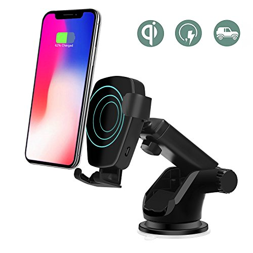 Price comparison product image Wireless Car Charger for iPhone X, Lottogo Car Mount Gravity Linkage Fast Charging for iPhone X,  8 / 8 Plus,  Samsung Galaxy S8,  S7, S6 / S7 Edge,  Note 8 5 & Qi Enabled Devices(Black)