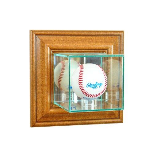(Perfect Cases MLB Wall Mounted Baseball Glass Display Case, Walnut)