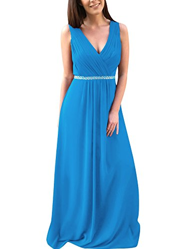 V Prom Blue Beaded A Bess Line Pleated Neck Chiffon Bridal Ocean Evening Women's Dress OqznIwnxAa