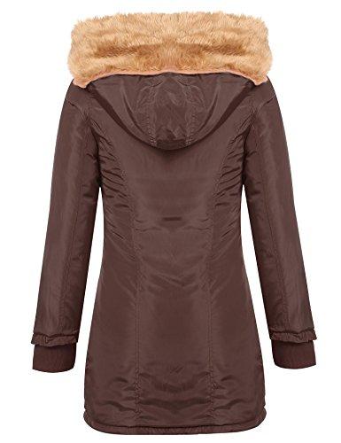 Foncé À Fourrure Blouson Veste Hiver Capuche Chaud Cooshional Longue Manteaux Femme Brun Wq1nxHTOP